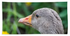 Portrait Of Greylag Goose, Iceland Bath Towel