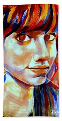 Hand Towel featuring the painting Portrait Of Ivana by Helena Wierzbicki