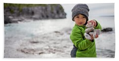 Portrait Of Little Boy Standing At Lake Hand Towel