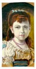 Hand Towel featuring the painting Portrait Of Little Girl by Henryk Gorecki