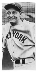 Portrait Of Lou Gehrig Hand Towel