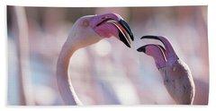 Portrait Of Two Pink Flamingoes Bath Towel