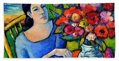 Portrait Of Woman With Flowers Hand Towel