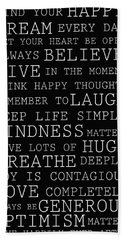 Positive Words Bath Towel