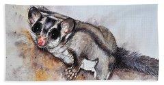 Possum Cute Sugar Glider Hand Towel by Sandra Phryce-Jones