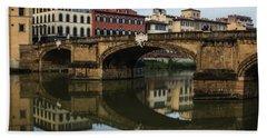 Postcard From Florence - Arno River And Ponte Santa Trinita  Bath Towel