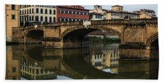 Postcard From Florence - Arno River And Ponte Santa Trinita  Hand Towel