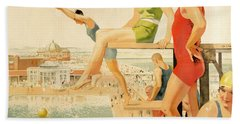Poster Advertising Sunny Rhyl  Hand Towel by Septimus Edwin Scott
