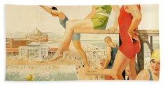 Poster Advertising Sunny Rhyl  Bath Towel