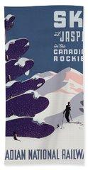 Poster Advertising The Canadian Ski Resort Jasper Bath Towel