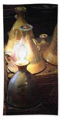 Pottery Oil Lamp  Bath Towel by Joyce  Wasser