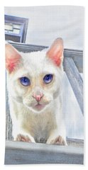 Hand Towel featuring the digital art Pounce by Jane Schnetlage