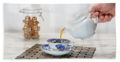 Pouring A Cup Of Tea Hand Towel