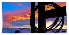Prairie Fence Sunset Hand Towel