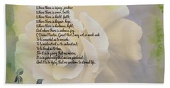 Prayer Of St. Francis And Yellow Rose Bath Towel
