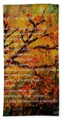 Prayer Of St. Francis Of Assisi  And Cherry Blossoms Bath Towel