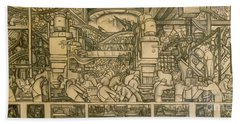 Presentation Drawing Of The Automotive Panel For The North Wall Of The Detroit Industry Mural Hand Towel