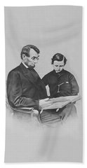 President Abraham Lincoln And His Son Bath Towel