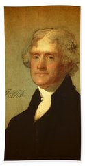 President Thomas Jefferson Portrait And Signature Hand Towel by Design Turnpike