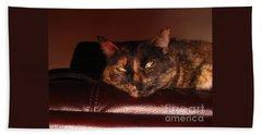 Pretty Kitty Hand Towel by Oksana Semenchenko