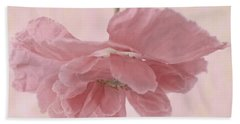 Bath Towel featuring the photograph Pretty Pink Poppy Macro by Sandra Foster
