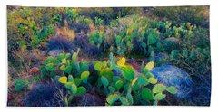 Prickly Pear And Saguaro Cacti, Santa Bath Towel