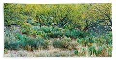 Prickly Pear Cacti Surrounds Mesquite Bath Towel