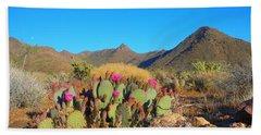 Prickly Pear Cactus In Spring Bath Towel