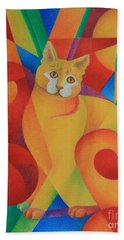 Hand Towel featuring the painting Primary Cat II by Pamela Clements