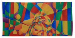 Hand Towel featuring the painting Primary Cat IIi by Pamela Clements