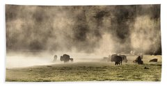 Buffalo Herd In Yellowstone Bath Towel