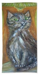 Bath Towel featuring the painting Princess Kitty by Teresa White