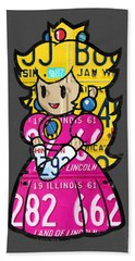 Princess Peach From Mario Brothers Nintendo Recycled License Plate Art Portrait Hand Towel by Design Turnpike