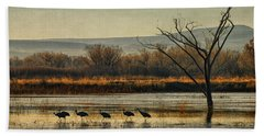 Hand Towel featuring the photograph Promenade Of The Cranes by Priscilla Burgers