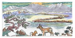 Pronghorn Winter Sunrise Hand Towel