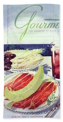 Prosciutto, Melon, Olives, Celery And A Glass Bath Towel