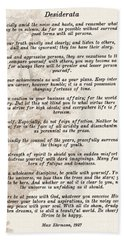Prose Poem Desiderata By Max Ehrmann  Bath Towel