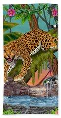 Prowling Leopard Hand Towel by Glenn Holbrook