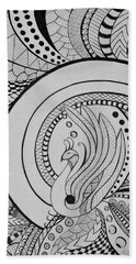 Zentangle Peacock Art Drawing Bath Towel