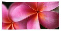 Pua Lei Aloha Cherished Blossom Pink Tropical Plumeria Hina Ma Lai Lena O Hawaii Hand Towel