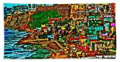 Old San Juan Puerto Rico Walled City Bath Towel by Carol F Austin