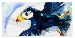Puffin Flight Bath Towel by Dawn Derman
