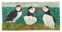 Puffin Island Hand Towel by John Williams