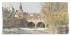 Pulteney Bridge Bath Hand Towel by Ron Harpham
