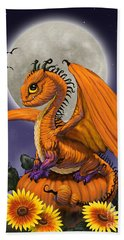 Hand Towel featuring the digital art Pumpkin Dragon by Stanley Morrison