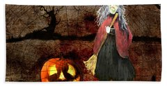 Pumpkinella The Magical Good Witch And Her Magical Cat Bath Towel by Colleen Taylor