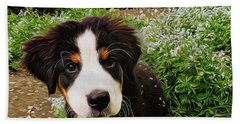 Puppy Art - Little Lily Bath Towel by Jordan Blackstone
