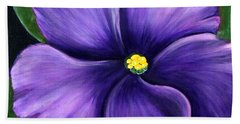 Purple African Violet Bath Towel by Barbara Griffin