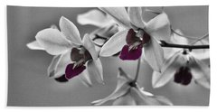 Purple And Pale Green Orchids - Black And White Bath Towel