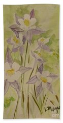 Purple And White Columbines Hand Towel